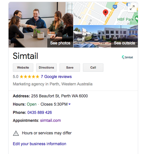 Example of Simtail's Google My Business listing